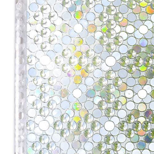 Homein 窓ガラス目隠しシート ステンドグラスシール 飛散防止 水で貼る 剥がせる 光に当たると虹色の艶を放...