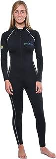 Women's Full Body Swimsuit Stinger Suit Dive Skin UPF50+ Black Silver Stitch