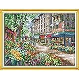 L.TSA Navidad Paris Flower Market Punto de Cruz de algodón ecológico 11CT y 14CT Impreso Nueva Tienda Ventas