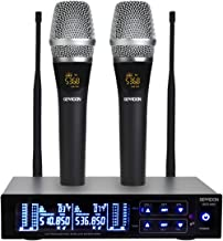 GEARDON Rechargeable Dual Wireless Microphone System, 200 Channel UHF  Cordless Mic Set  Long Distance 250Ft Mute Function for Church,Karaoke,Party,DJ