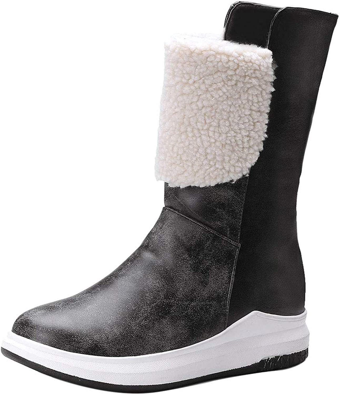 RizaBina Fashion Snow Boots for Women Warm Lining Shearling Boots Mid Calf Winter Boots