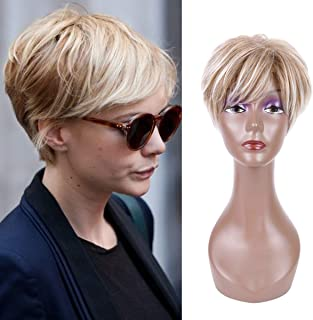 Creamily Women Short Pixie Cut Wig with Bangs Synthetic Layered Fluffy Full Replacement Hair Heat Resistant Daily Wear Wigs Blonde Mix Brown