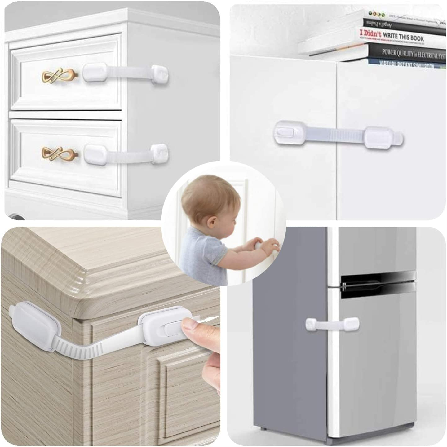 Child Safety Cabinet Locks Latches, 10 Pack No Drilling Baby Proof Locks for Cabinet Drawer Refrigerator Toilet Oven Dishwasher Kitchen Bathroom Baby Safety Latches Locks for Toddler Kid