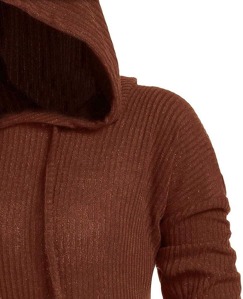 Xinantime Vintage Cloak for Women Plus Size Solid Color High Low Sweater Hooded Long Sleeve Irregular Hem Jumper