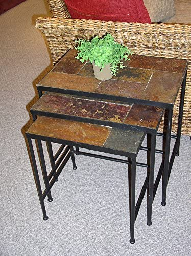 Best Black 3 Piece Nesting Tables With Slate Top