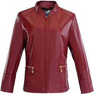 Women Faux Fur Jacket,Tsmile Plus Size Autumn Winter Patent Leather Long Sleeve Zip Up Motorcycle Coat with Pouch
