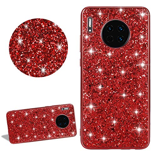 Bling Sparkle Glitter Silicone Phone Case for Huawei Mate 20 Lite,DasKAn Shiny Electroplated Frame Soft Rubber Back Cover Ultra Thin Slim Fit Anti Scratch Shockproof Gel TPU Protective Skin,Red