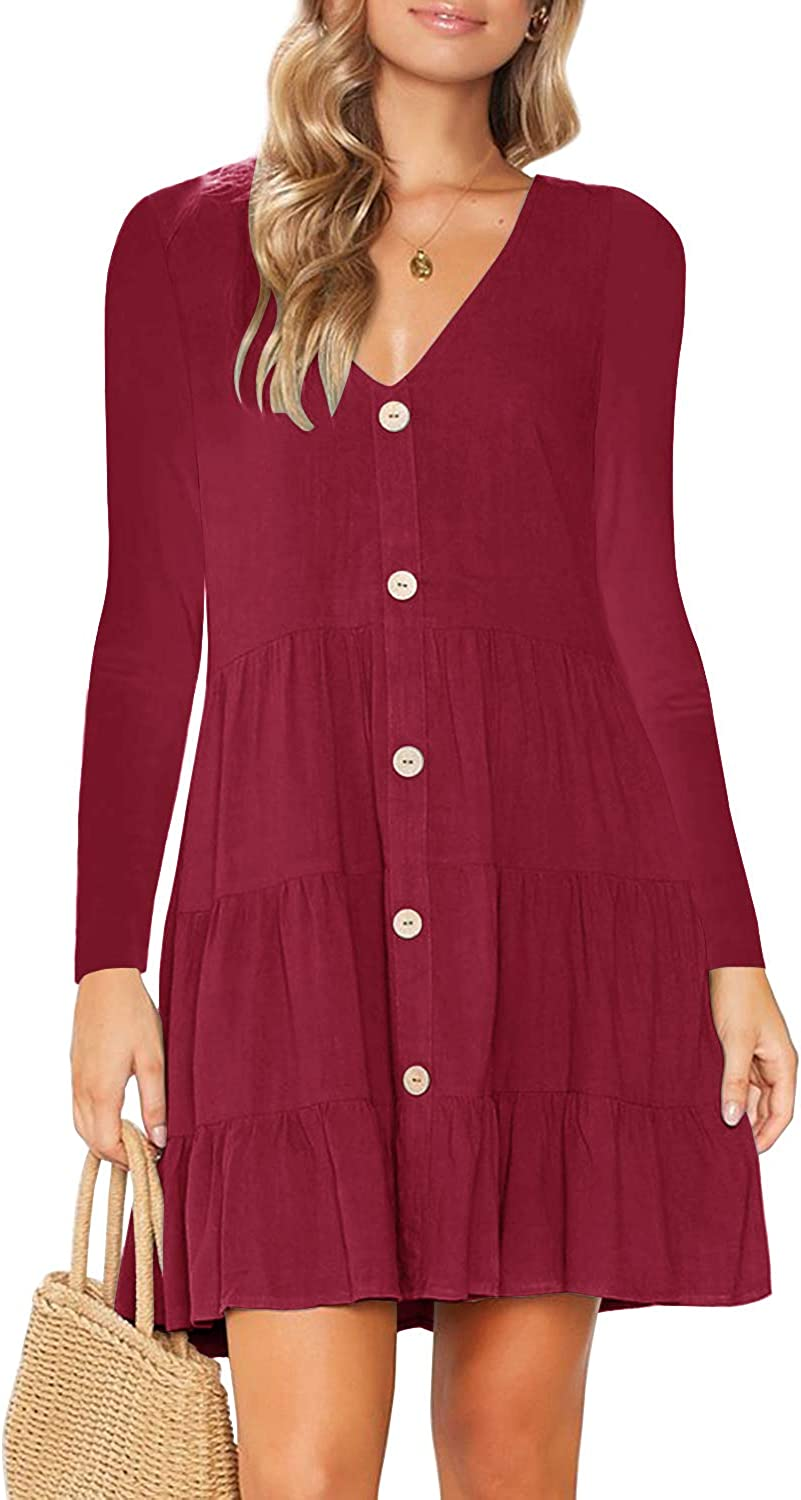 MITILLY Women's Long Sleeve V Neck Button Down A-Line Swing Short Dress with Pockets