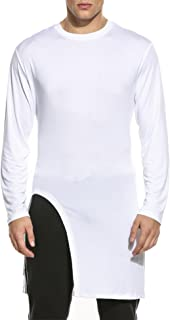 Men's Fashion Long Hem Slim Fit Long Sleeve Pullover T Shirt