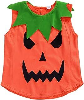 الأطفال الصغار الرضع البنين أزياء هالوين هالوين القرع رومبير بلا أكمام مع أحذية هات 0-7Y