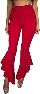 Women Flare Pants Elegant Stretch High Waist Wide Leg Long Pants Trousers,Red,S