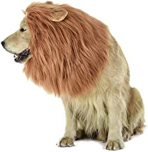 MiLuck Lion Mane peluca para perro y gato Disfraz con orejas Mascota ajustable cómodo Fancy León pelo perro ropa para Halloween Actividad de fiesta del festival de Pascua(Dog-Light Brown)