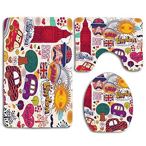 Conjunto de símbolos británicos tradicionales coloridos Dibujo Big Ben Flag London Eye Imagen de la rueda de la fortuna Juego de alfombras de baño de 3 piezas Alfombrilla de baño antideslizante Alfomb