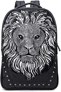 Hamkaw 3D Lion Backpack Studded Animal PU Leather Cool Rucksack Shoulder Bag Bookbag Knapsack for Men/Boys