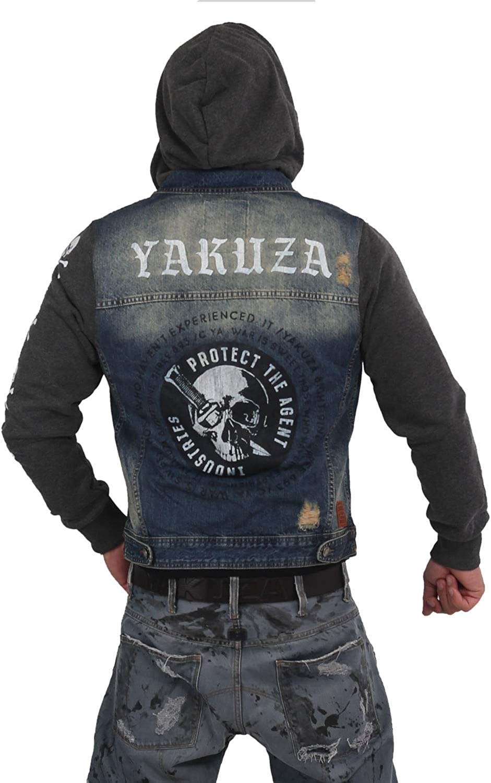 Yakuza Herren Protect Jeans Kapuzenjacke Indigo Vintage