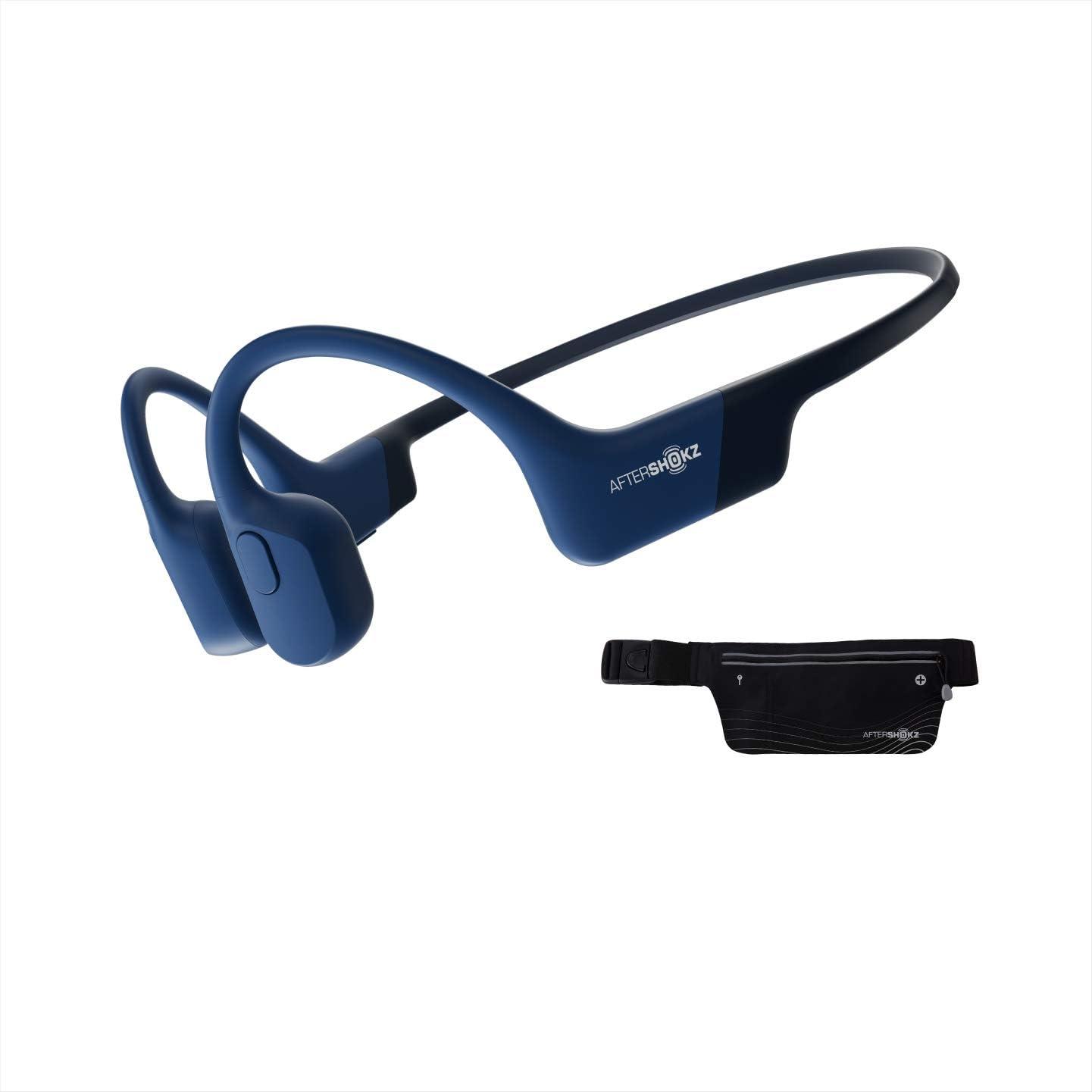 AfterShokz Aeropex IP67 Open-Ear Bluetooth Wireless Bone Conduction Sport Headphones with Built-in Mic (Blue Eclipse) + Sport Belt
