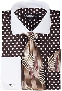 Men's 100% Cotton Polka Dot Pattern Dress Shirt