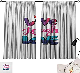 Michaeal Live Laugh Love Home Darkening Curtains Vintage Inspirations in Colorful Live Laugh and Love with Different Designs Set of 2 Panels Multicolor W72 x L63