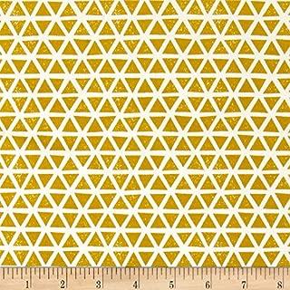 Cloud 9 Organic Interlock Knit Triangles Citron Fabric by The Yard