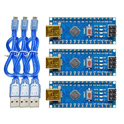 diymore 3PCS Nano V3.0 ATmega328P Micro controller CH340G Module Board for Arduino Mini USB 16M 5V with Usb Cable(Welded)