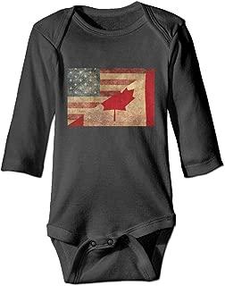 Vintage American Canada Flag Printed Unisex Baby Infant Bodysuit Warm Onesies Long Sleeve Rompers