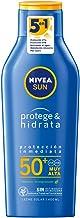 NIVEA SUN Protege & Hidrata Leche Solar FP50+ (1 x 400 ml), protector solar hidratante y resistente al agua con protección UVA/UVB, protección solar muy alta
