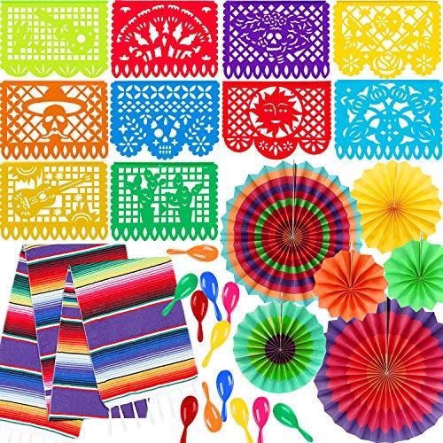 Zhanmai 20 Piezas Materiales de Fiesta Mexicana Camino de Mesa Mexicano de Neon Maracas Abanicos de Papel de Multicolor Pancarta de Picado de Plástico Grande para Decoración de Fiesta Boda