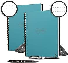 Rocketbook Back to School Bundle - 2 Everlast Smart Reusable Notebook Set with 1 Lined & 1 Dot Grid Notebook, 2 Pilot Frixion Pens & 2 Microfiber Cloths - Neptune Teal Cover, Letter Size (8.5