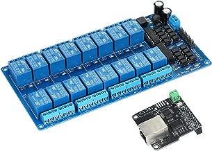 Festnight Ethernet Módulo de control LAN WAN Red Servidor web Puerto TCP IP RJ45 + Tarjeta de expansión de relé de 16 canales para Arduino iOS Raspberry Pi 16 CHs Relay