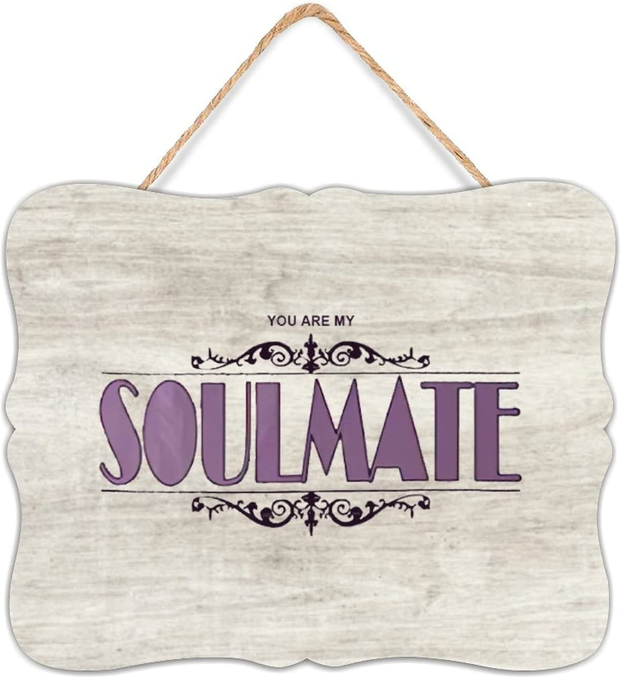Wooden Listed You are My Soulmate Novelty Hanging Plaque Wood Sign Wall Decor for Kitchen Living Room Home 7.8
