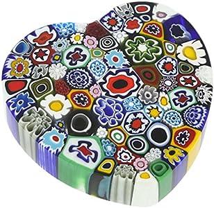GlassOfVenice Pisapapapeles de cristal de Murano Millefiori corazón - grande