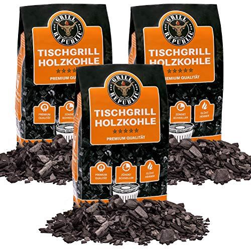 Grill Republic Tischgrill-Kohle 3x 2,5kg / 100% reine Buchenholzkohle für rauchfreie Tischgrills wie den Lotusgrill