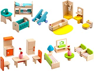 Giraffe 4 Set Colorful Wooden Doll House Furniture, Wood Miniature Bathroom/ Living Room/ Bedroom/ Kitchen House Furniture...