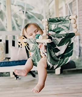 OUTDOOR tropical palm leaves swing, baby swing, fabric baby swing, porch swing