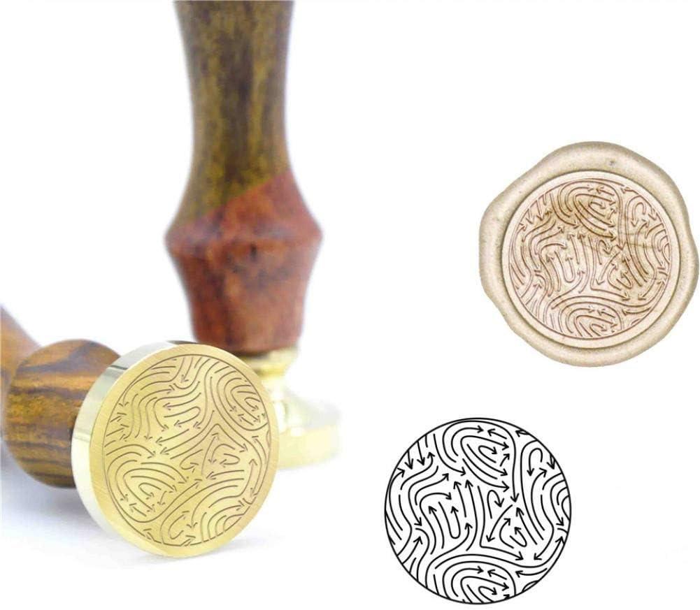 SDFDF Bl/ätter Geometrisches Muster Wachs Siegelstempel B27 Benutzerdefinierter Wachsstempel Anfangsstempel Holzgriff Diy Ancient Seal Retro Stempel