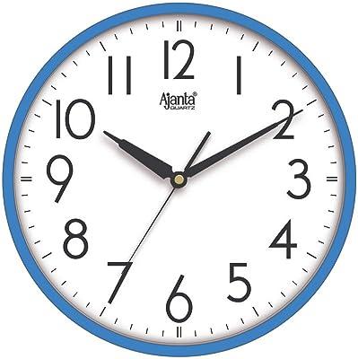 Ajanta Quartz Step Movement Premium White Finish Wall Clock (30x30x4 cm) (Blue)