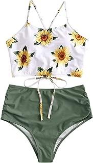 ZAFUL Sunflower Bikini Set Padded Lace Up Ruched Tankini High Waisted Bathing Suit
