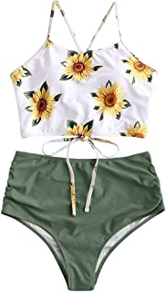 Sunflower Bikini Set Padded Lace Up Ruched Tankini High Waisted Bathing Suit