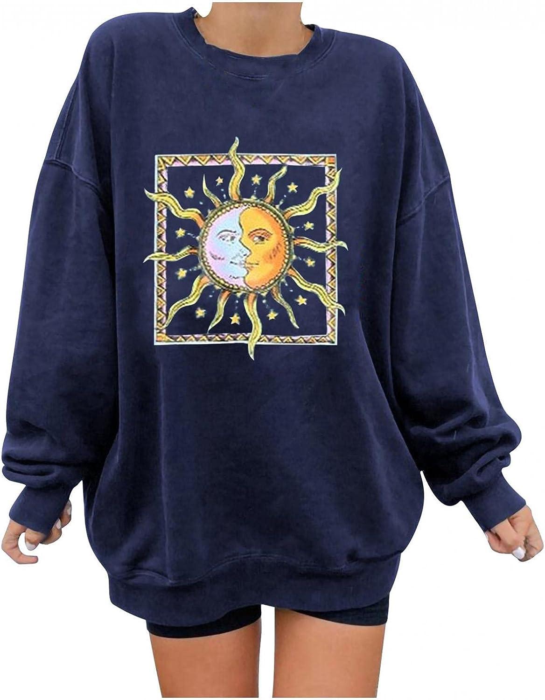 FABIURT Womens Casual Crewneck Sweatshirts Sun Moon Vintage Graphic Long Sleeve Shirts Pullover Tunic Tops Tee Shirts