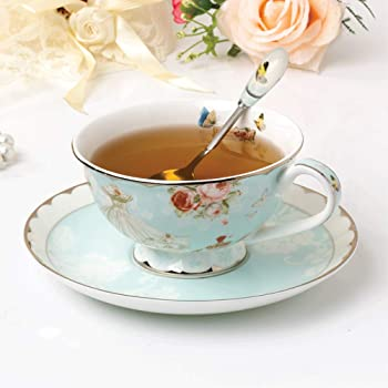 Bone China Cup and Saucer Set with Spoon, Vintage Rose Pattern Coffee Cup Set for Women Mom (7 Ounces)