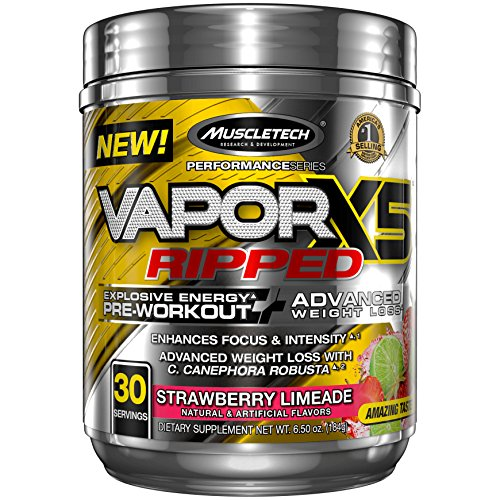 Pre Workout + Weight Loss Formula | MuscleTech Vapor X5 Ripped Pre-Workout | Preworkout Powder for Men & Women with Beta Alanine | Energy + Focus + Intensity | Strawberry Limeade (30 Servings)