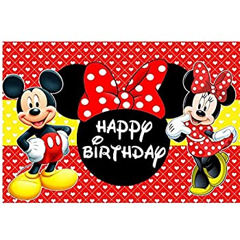 Mickey Minnie Mouse Backdrop Background Happy 1st Birthday Party Banner Decoration Birthday Party Supplies Banner Studio Props