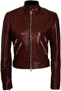 Women Slim Fit Major Susan Burgundy Turner Leather Jacket