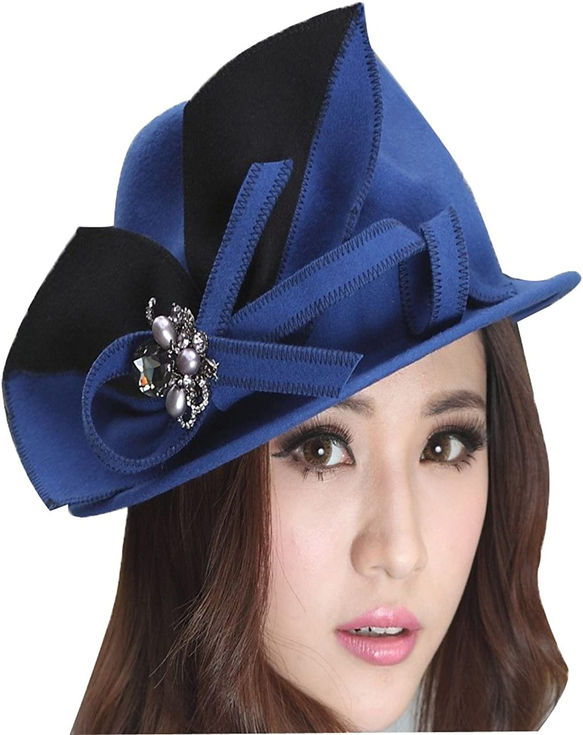 June's Young Women Hats Winter Hat 100% Wool Embroidery Brim Stones