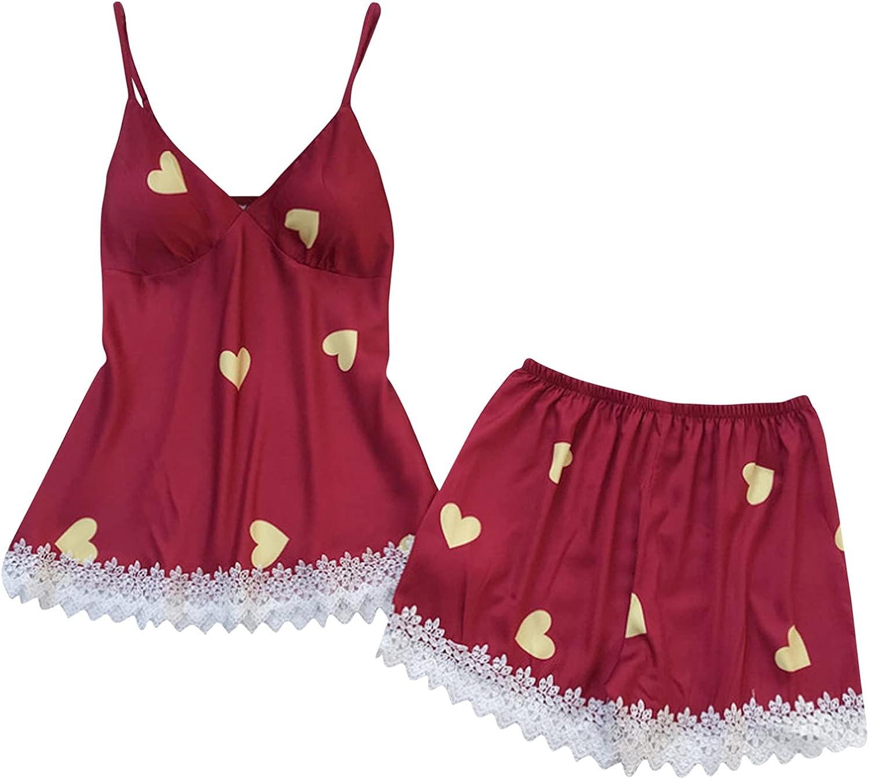 Women Sexy Lace Sleepwear Pajamas Summer Cute Graphic Nightwear Set Sleeveless Cami Tops Elastic Shorts Lingerie Suit