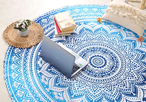 """Popular Round Roundie Indian Mandala Round Roundie Beach Throw Tapestry Hippy Boho Gypsy Cotton Table Cover Round Tapestry wall hanging 70"""" By Popular Handicrafts"""