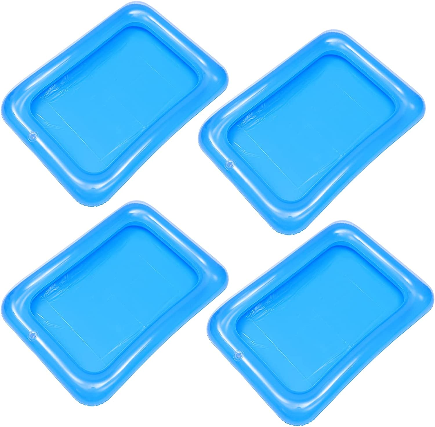 DOITOOL 4Pcs Inflatable Ice Serving Bar Coolers for Parties, PVC Ice Serving Trays Food Drink Holder Cooler, Salad Picnic Ice Drinks Buffet Server Tray for Indoor Outdoor Party Pool