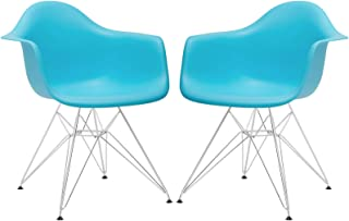 Poly and Bark Eames Style Molded Plastic Eiffel Armchair (DAR), Blue, Set of 2