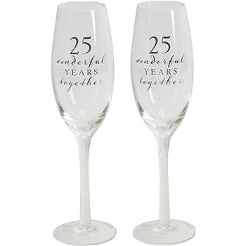 Amore WG66525 - Juego de 2 copas de champán en caja para 25 aniversario de boda: Amazon.es: Hogar