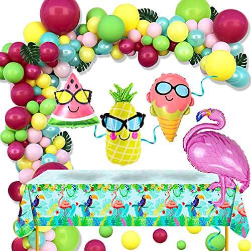 Kit de Guirnaldas con Globos de Hawaiana Decoración Fiesta Tropical Verano Globos Flamencos Piña Arco de Globos Rosa Verde y Amarillo para Hawaiana Playa Fiestas Cumpleaños Baby Shower